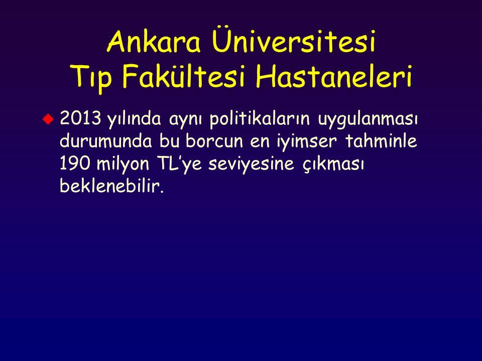 Ankara Üniversitesi Tıp Fakültesi Hastaneleri u 2013 yılında aynı politikaların uygulanması durumunda bu borcun en iyimser tahminle 190 milyon TL'ye s