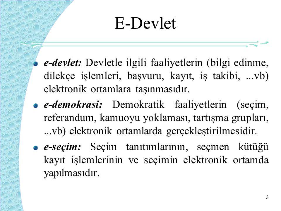 3 E-Devlet e-devlet: Devletle ilgili faaliyetlerin (bilgi edinme, dilekçe işlemleri, başvuru, kayıt, iş takibi,...vb) elektronik ortamlara taşınmasıdır.