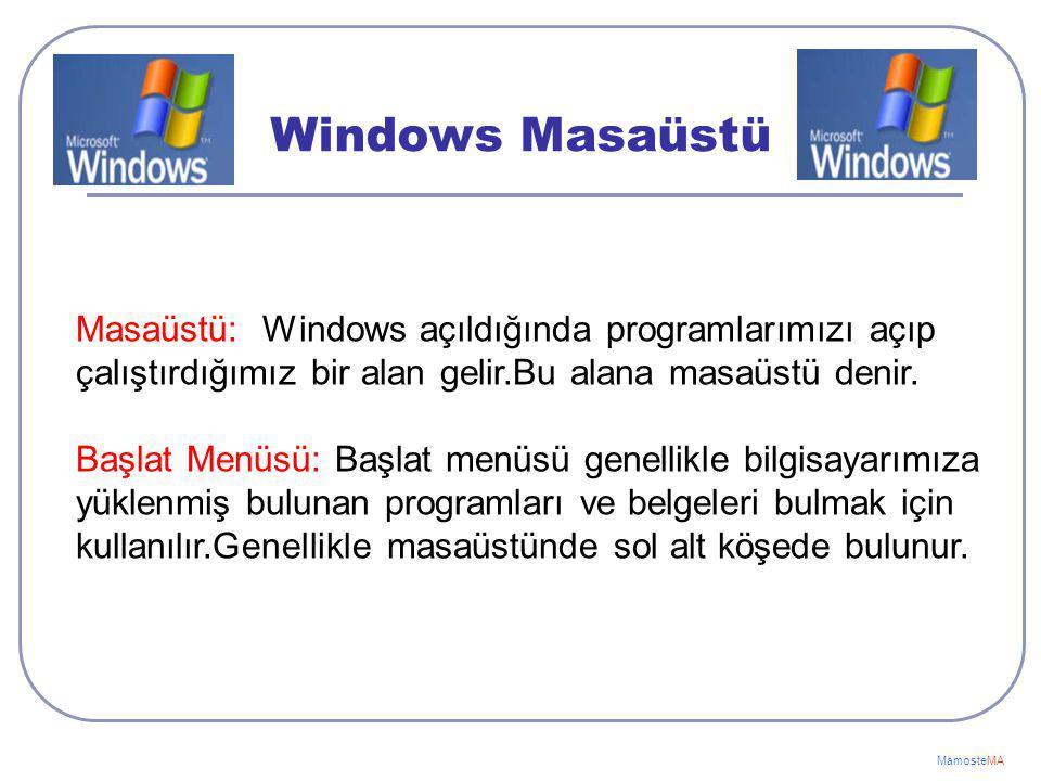 MamosteMA İşletim Sistemleri Günümüzde Kullanılan İşletim Sistemleri: 1-Windows İşletim Sistemi 2-Pardus İşletim Sistemi 3-Linux İşletim Sistemi 4-Mac