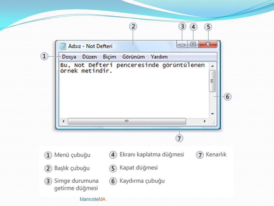 Pencereler Bir program, dosya ya da klasör açtığınızda, ekranınızda pencere olarak adlandırılan bir çerçeve kutusunun içinde gösterilir (Windows işlet