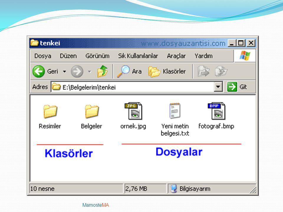 MamosteMA Dosya/Dizin işlemleri Dosya: Bilgisayardaki bilgi kümeleridir. Her türlü dosya bilgisayarda sayısal olarak bulunur. bilgisayardaki veriler b