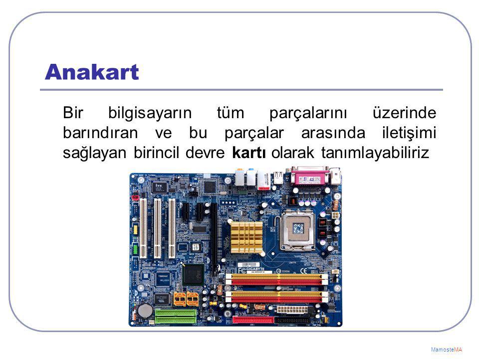 Bilgisayarın Ana Donanım Birimleri Anakart İşlemci (CPU) RAM Harddisk(Sabitdisk) Ekran Kartı MamosteMA