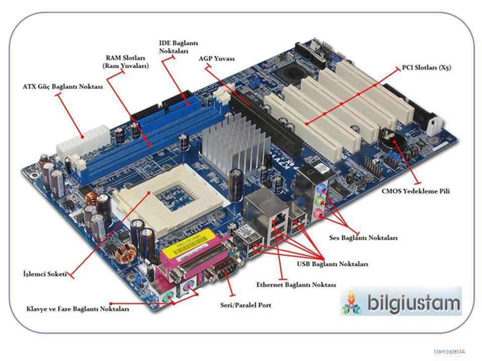 Anakart Bir bilgisayarın tüm parçalarını üzerinde barındıran ve bu parçalar arasında iletişimi sağlayan birincil devre kartı olarak tanımlayabiliriz M