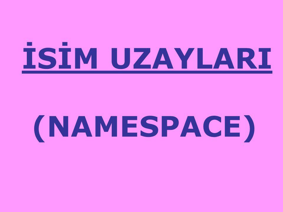 İSİM UZAYLARI (NAMESPACE)