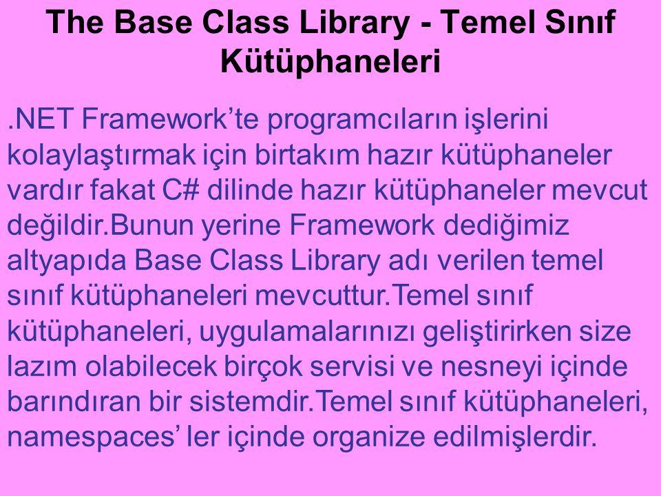 The Base Class Library - Temel Sınıf Kütüphaneleri.NET Framework'te programcıların işlerini kolaylaştırmak için birtakım hazır kütüphaneler vardır fak