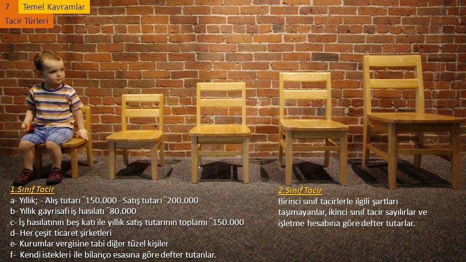 7Temel Kavramlar Tacir Türleri 1.Sınıf Tacir a- Yıllık; - Alış tutarı ¨ 150.000 - Satış tutarı ¨ 200.000 b- Yıllık gayrisafi iş hasılatı ¨ 80.000 c- İ