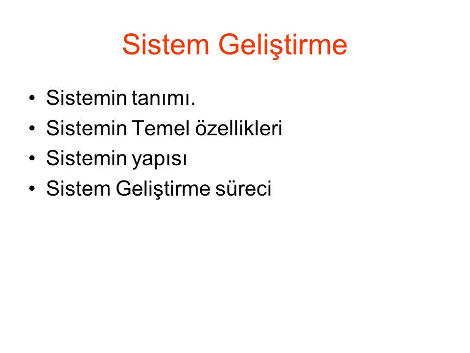 Sistem Geliştirme Sistemin tanımı. Sistemin Temel özellikleri Sistemin yapısı Sistem Geliştirme süreci