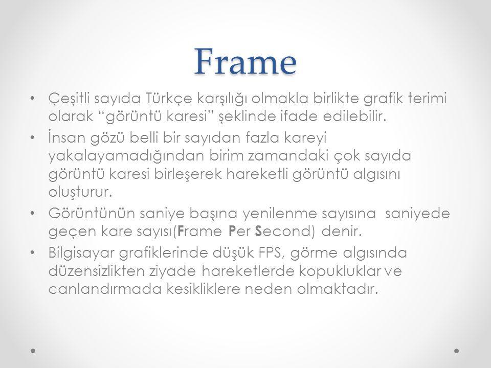 """Frame Çeşitli sayıda Türkçe karşılığı olmakla birlikte grafik terimi olarak """"görüntü karesi"""" şeklinde ifade edilebilir. İnsan gözü belli bir sayıdan f"""