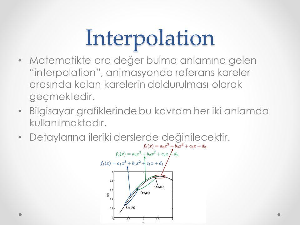 """Interpolation Matematikte ara değer bulma anlamına gelen """"interpolation"""", animasyonda referans kareler arasında kalan karelerin doldurulması olarak ge"""