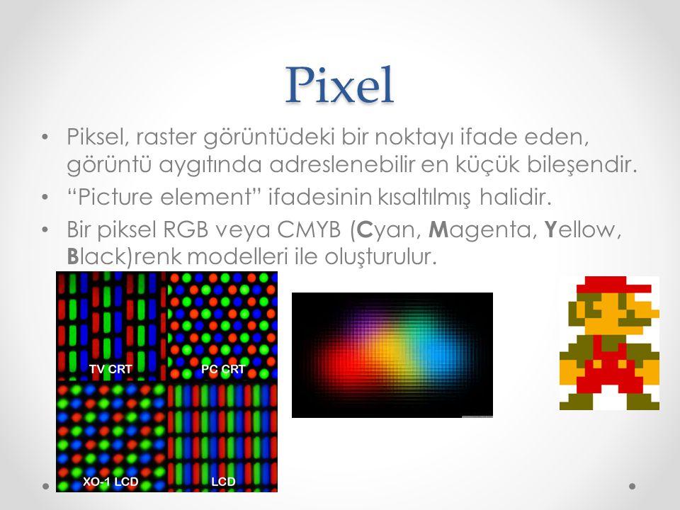 """Pixel Piksel, raster görüntüdeki bir noktayı ifade eden, görüntü aygıtında adreslenebilir en küçük bileşendir. """"Picture element"""" ifadesinin kısaltılmı"""
