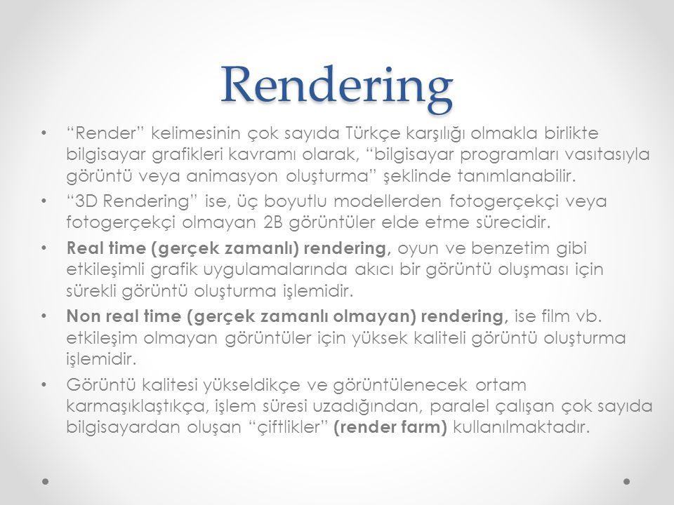 """Rendering """"Render"""" kelimesinin çok sayıda Türkçe karşılığı olmakla birlikte bilgisayar grafikleri kavramı olarak, """"bilgisayar programları vasıtasıyla"""