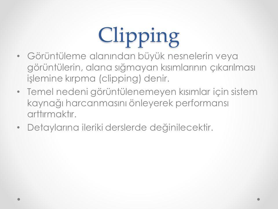Clipping Görüntüleme alanından büyük nesnelerin veya görüntülerin, alana sığmayan kısımlarının çıkarılması işlemine kırpma (clipping) denir. Temel ned