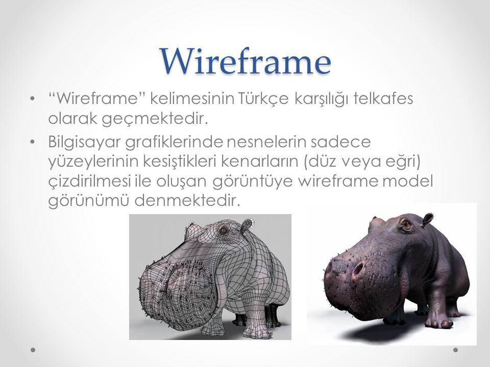 """Wireframe """"Wireframe"""" kelimesinin Türkçe karşılığı telkafes olarak geçmektedir. Bilgisayar grafiklerinde nesnelerin sadece yüzeylerinin kesiştikleri k"""