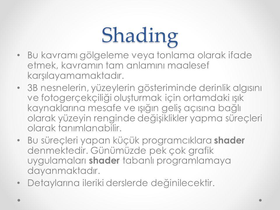 Shading Bu kavramı gölgeleme veya tonlama olarak ifade etmek, kavramın tam anlamını maalesef karşılayamamaktadır. 3B nesnelerin, yüzeylerin gösterimin