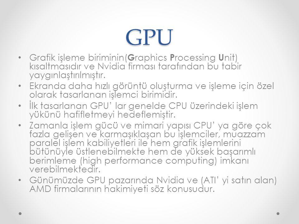 GPU Grafik işleme biriminin( G raphics P rocessing U nit) kısaltmasıdır ve Nvidia firması tarafından bu tabir yaygınlaştırılmıştır. Ekranda daha hızlı