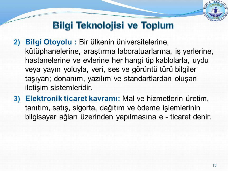 2) Bilgi Otoyolu : Bir ülkenin üniversitelerine, kütüphanelerine, araştırma laboratuarlarına, iş yerlerine, hastanelerine ve evlerine her hangi tip ka