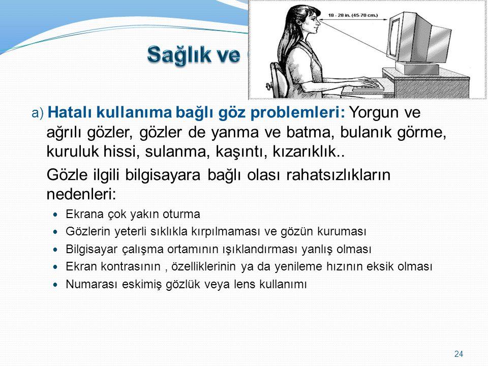 a) Hatalı kullanıma bağlı göz problemleri: Yorgun ve ağrılı gözler, gözler de yanma ve batma, bulanık görme, kuruluk hissi, sulanma, kaşıntı, kızarıkl