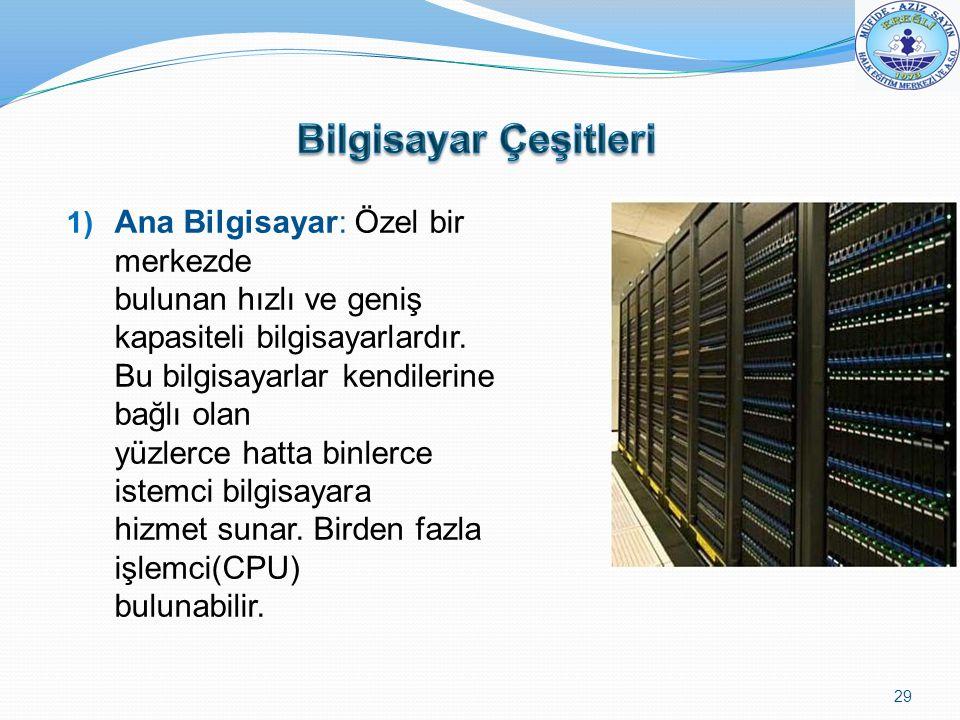 1) Ana Bilgisayar: Özel bir merkezde bulunan hızlı ve geniş kapasiteli bilgisayarlardır. Bu bilgisayarlar kendilerine bağlı olan yüzlerce hatta binler