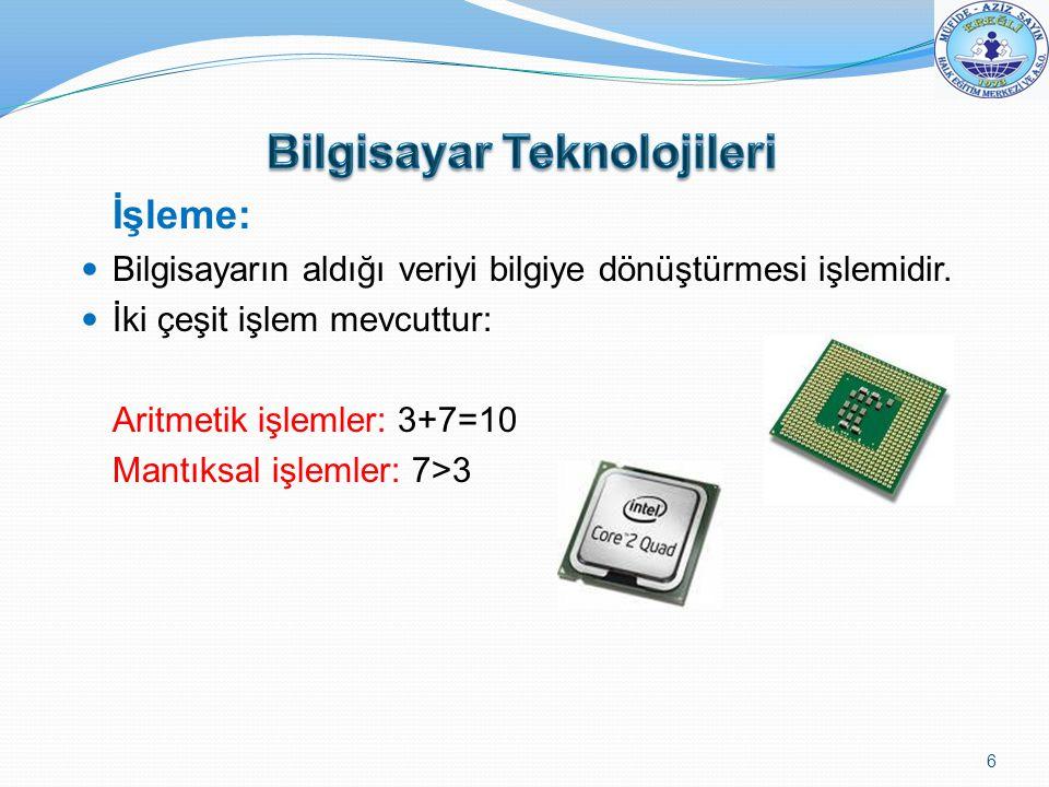 İşleme: Bilgisayarın aldığı veriyi bilgiye dönüştürmesi işlemidir. İki çeşit işlem mevcuttur: Aritmetik işlemler: 3+7=10 Mantıksal işlemler: 7>3 6