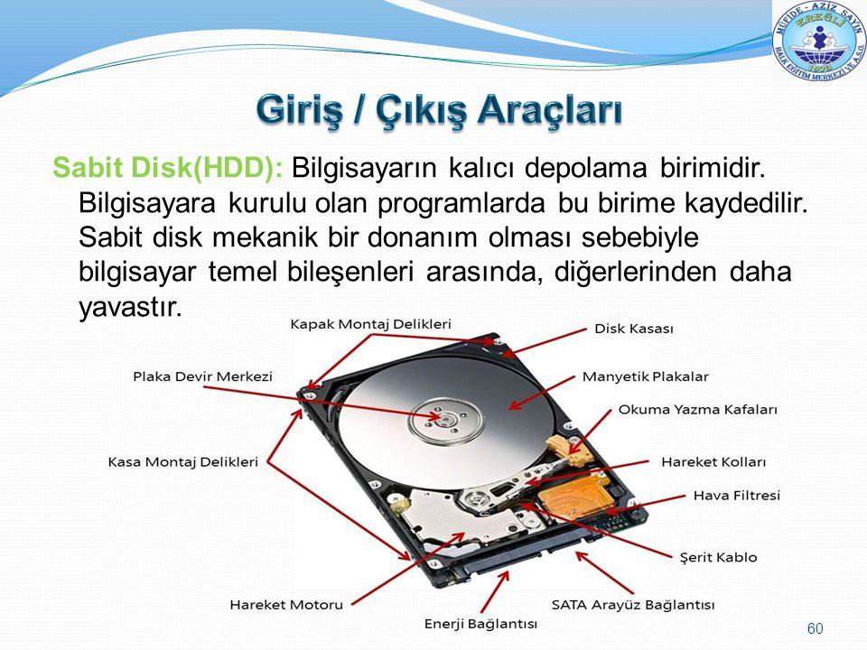 Sabit Disk(HDD): Bilgisayarın kalıcı depolama birimidir. Bilgisayara kurulu olan programlarda bu birime kaydedilir. Sabit disk mekanik bir donanım olm