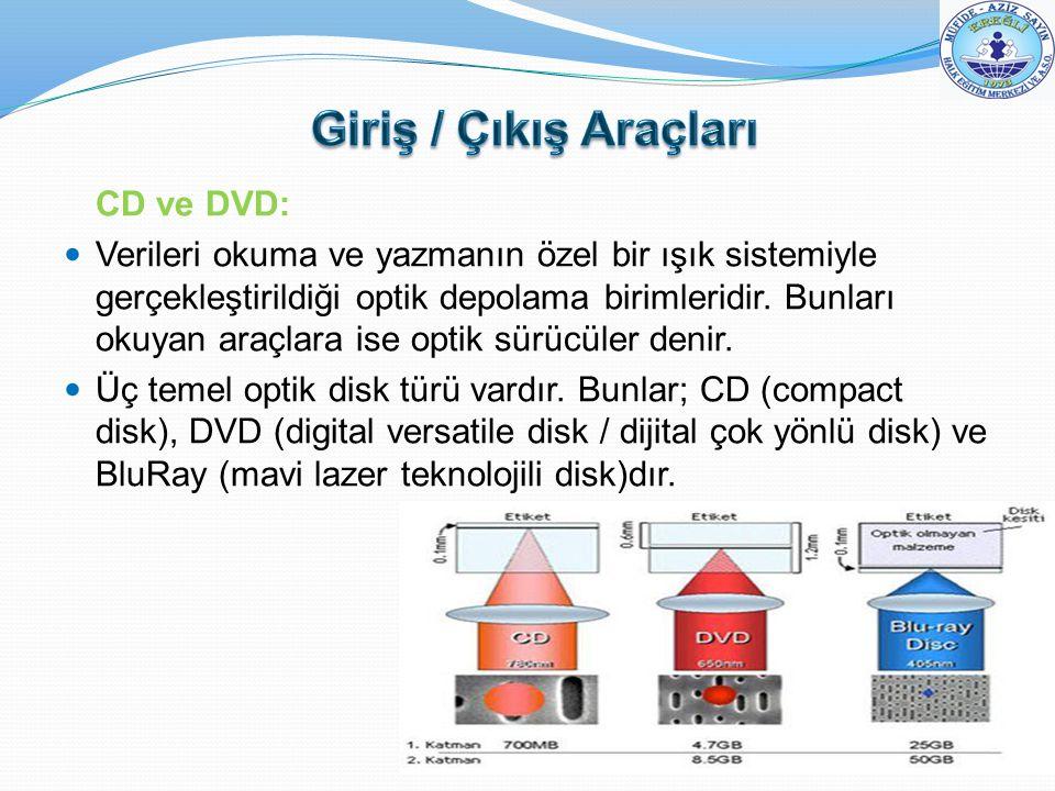 CD ve DVD: Verileri okuma ve yazmanın özel bir ışık sistemiyle gerçekleştirildiği optik depolama birimleridir. Bunları okuyan araçlara ise optik sürüc