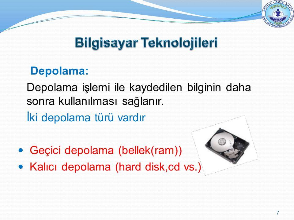 Depolama: Depolama işlemi ile kaydedilen bilginin daha sonra kullanılması sağlanır. İki depolama türü vardır Geçici depolama (bellek(ram)) Kalıcı depo
