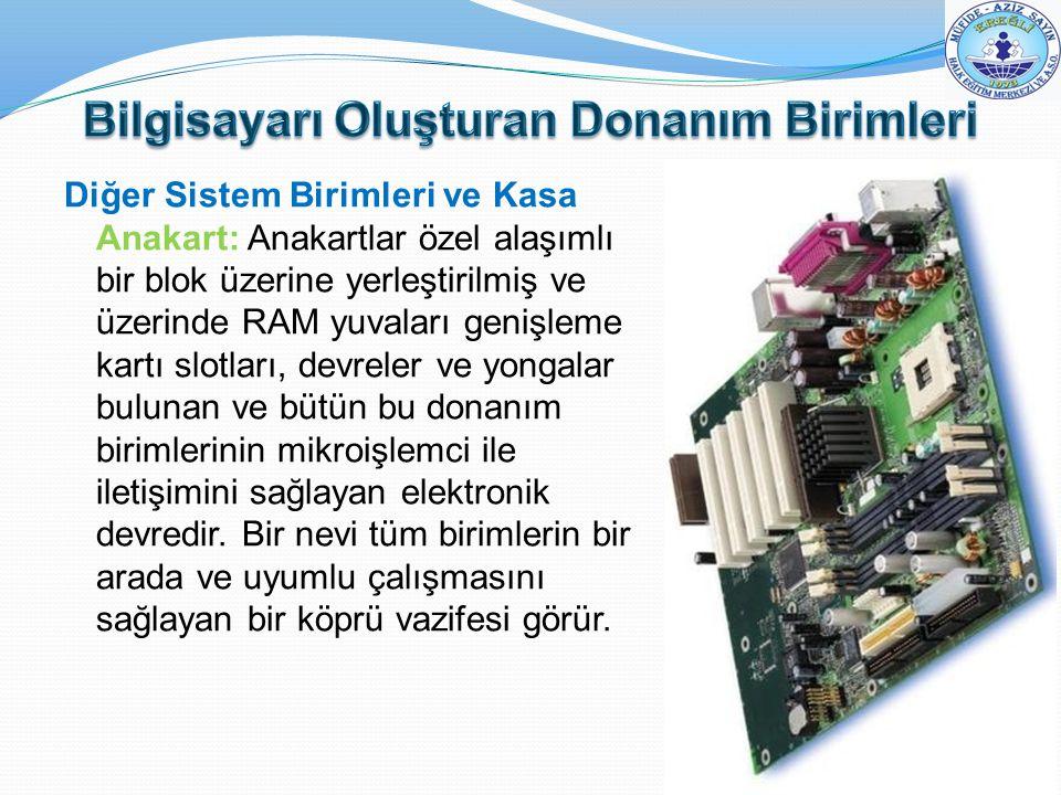 Diğer Sistem Birimleri ve Kasa Anakart: Anakartlar özel alaşımlı bir blok üzerine yerleştirilmiş ve üzerinde RAM yuvaları genişleme kartı slotları, de