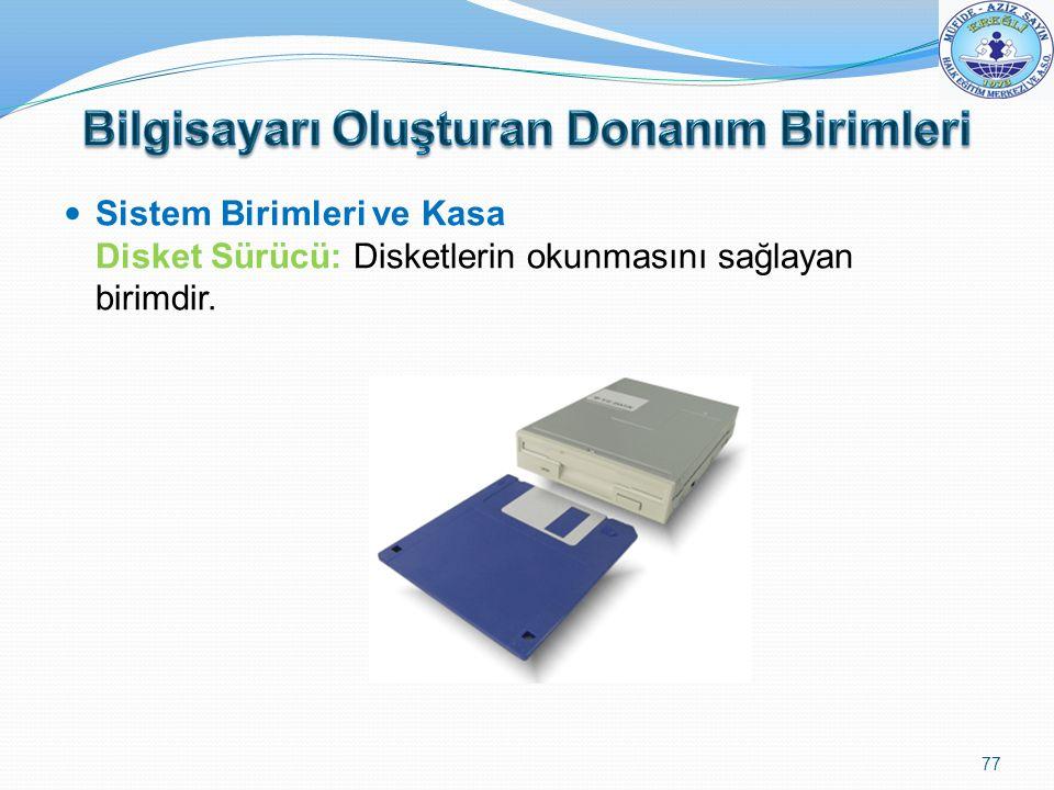 Sistem Birimleri ve Kasa Disket Sürücü: Disketlerin okunmasını sağlayan birimdir. 77