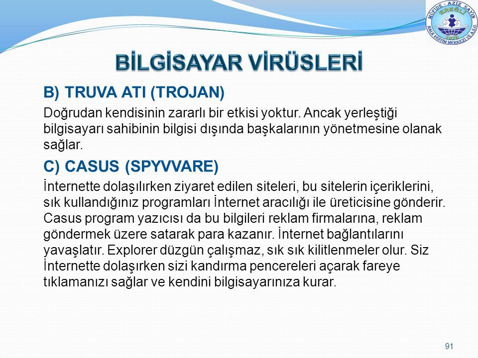 B) TRUVA ATI (TROJAN) Doğrudan kendisinin zararlı bir etkisi yoktur. Ancak yerleştiği bilgisayarı sahibinin bilgisi dışında başkalarının yönetmesine o