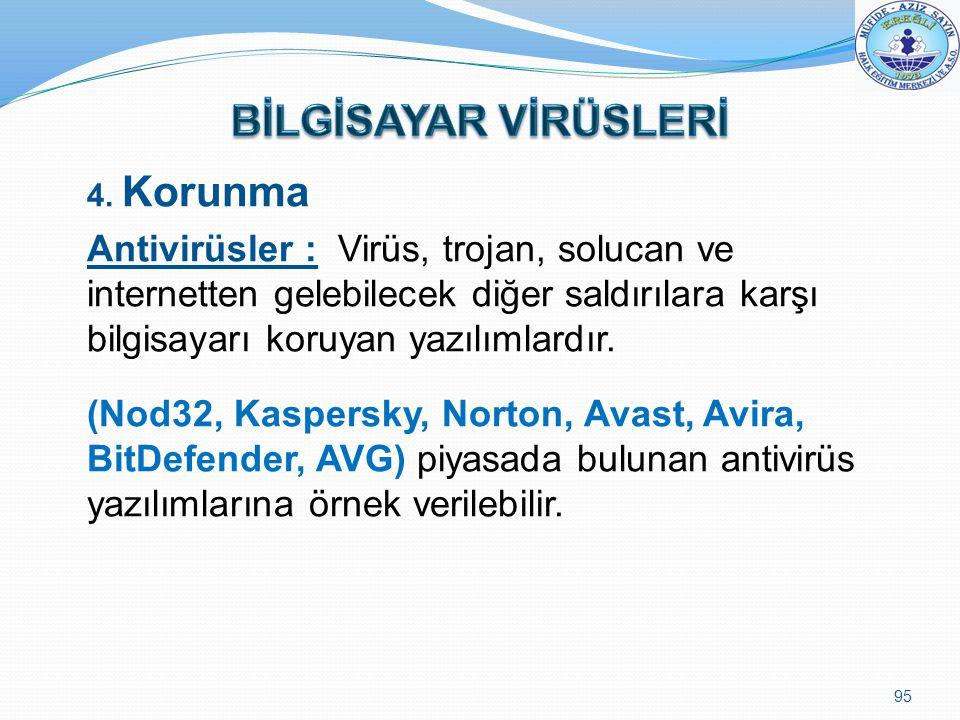 4. Korunma Antivirüsler : Virüs, trojan, solucan ve internetten gelebilecek diğer saldırılara karşı bilgisayarı koruyan yazılımlardır. (Nod32, Kaspers