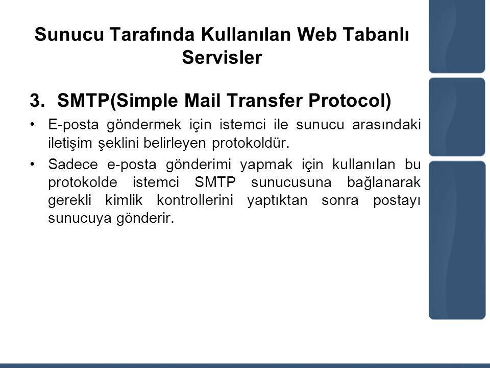 Sunucu Tarafında Kullanılan Web Tabanlı Servisler 3.SMTP(Simple Mail Transfer Protocol) E-posta göndermek için istemci ile sunucu arasındaki iletişim