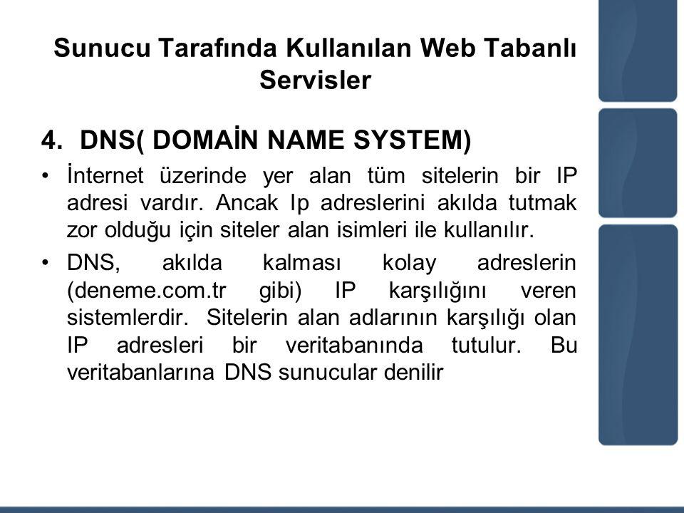 Sunucu Tarafında Kullanılan Web Tabanlı Servisler 4.DNS( DOMAİN NAME SYSTEM) İnternet üzerinde yer alan tüm sitelerin bir IP adresi vardır. Ancak Ip a
