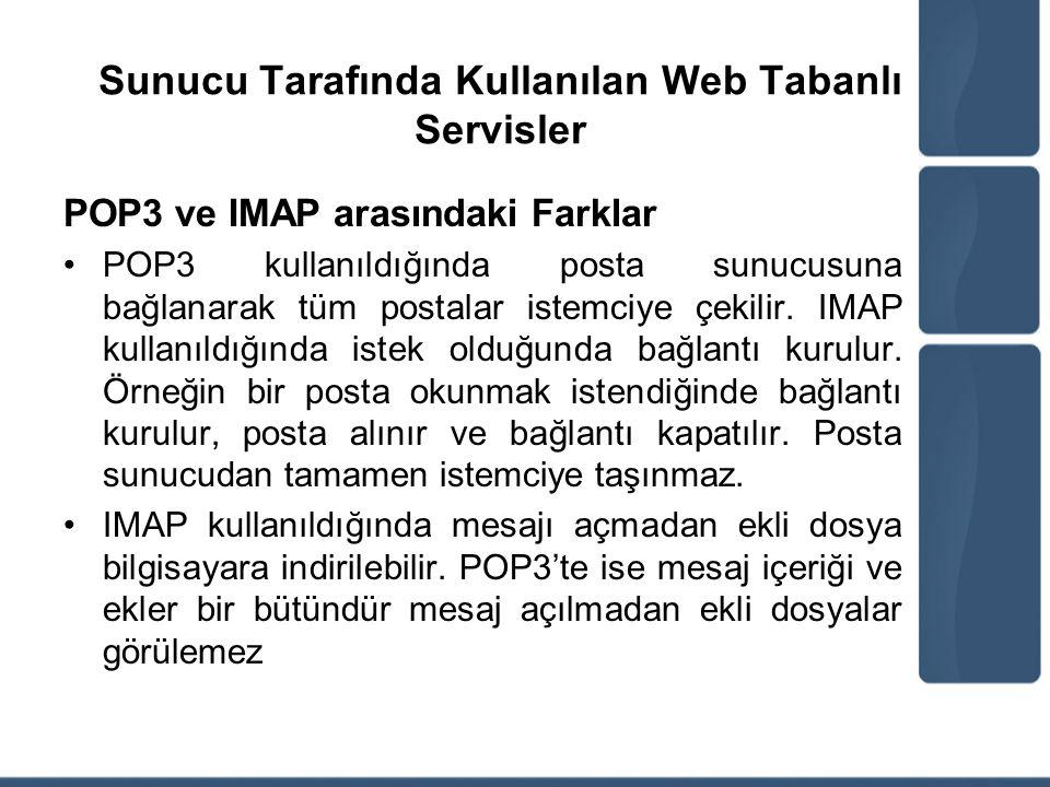 Sunucu Tarafında Kullanılan Web Tabanlı Servisler POP3 ve IMAP arasındaki Farklar POP3 kullanıldığında posta sunucusuna bağlanarak tüm postalar istemc