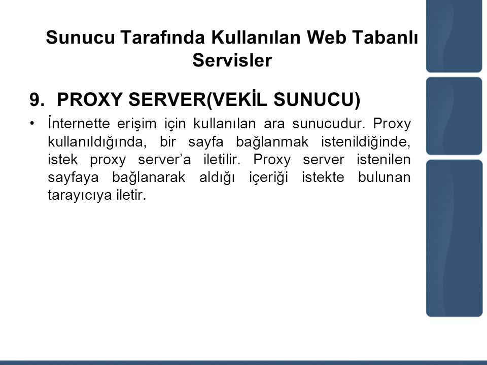 Sunucu Tarafında Kullanılan Web Tabanlı Servisler 9.PROXY SERVER(VEKİL SUNUCU) İnternette erişim için kullanılan ara sunucudur. Proxy kullanıldığında,