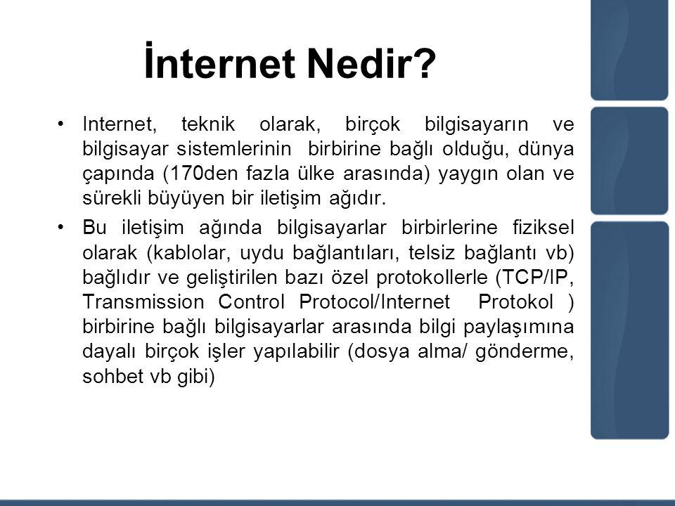 İnternet Nedir? Internet, teknik olarak, birçok bilgisayarın ve bilgisayar sistemlerinin birbirine bağlı olduğu, dünya çapında (170den fazla ülke aras