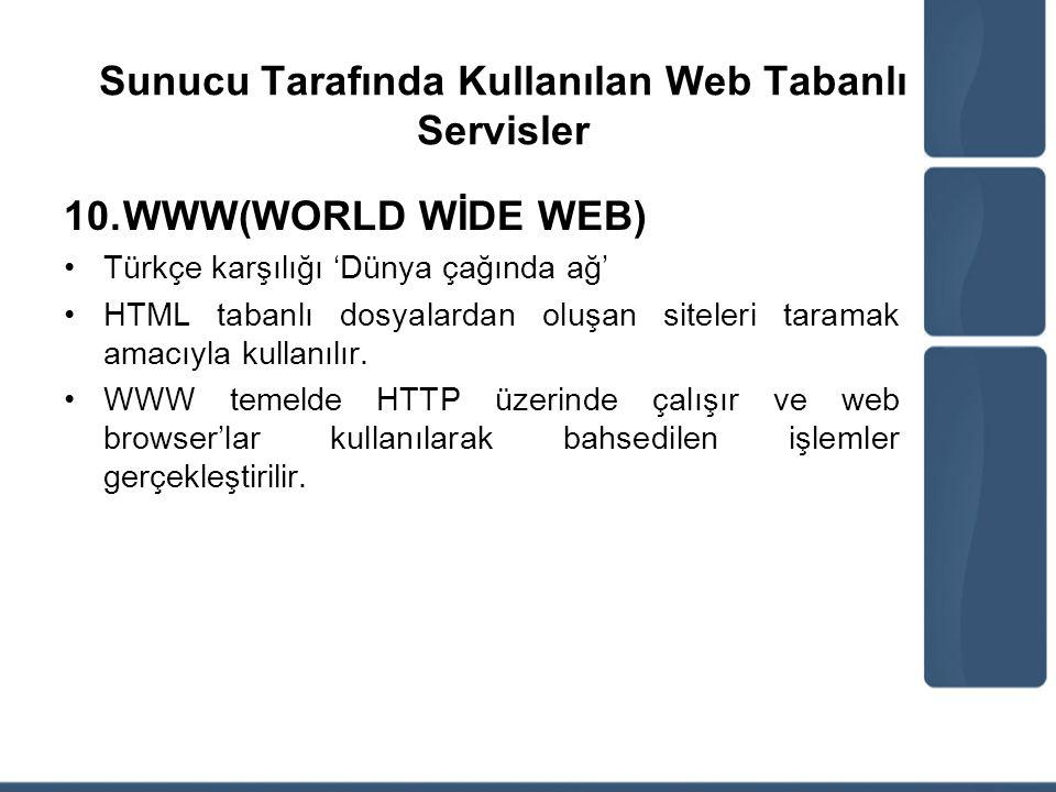 Sunucu Tarafında Kullanılan Web Tabanlı Servisler 10.WWW(WORLD WİDE WEB) Türkçe karşılığı 'Dünya çağında ağ' HTML tabanlı dosyalardan oluşan siteleri