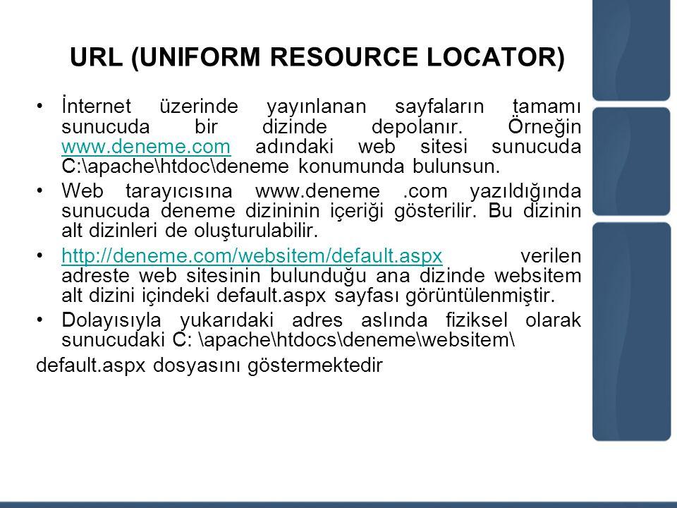 URL (UNIFORM RESOURCE LOCATOR) İnternet üzerinde yayınlanan sayfaların tamamı sunucuda bir dizinde depolanır. Örneğin www.deneme.com adındaki web site