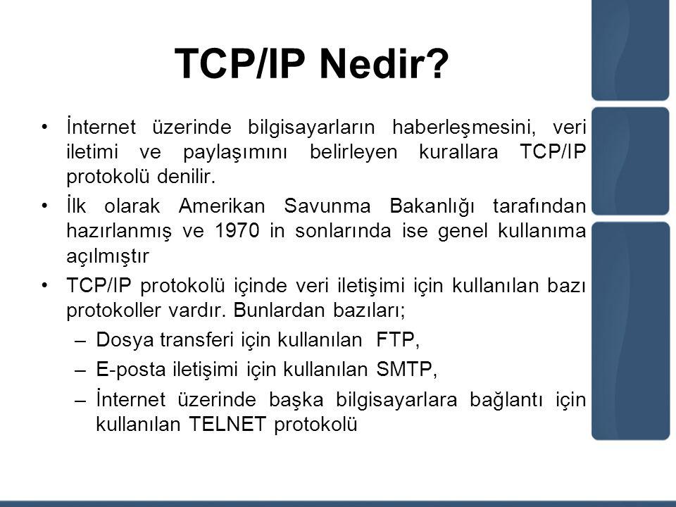 TCP/IP Nedir? İnternet üzerinde bilgisayarların haberleşmesini, veri iletimi ve paylaşımını belirleyen kurallara TCP/IP protokolü denilir. İlk olarak