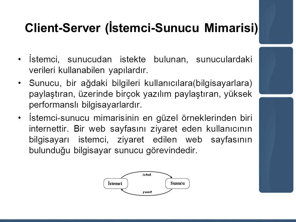 Client-Server (İstemci-Sunucu Mimarisi) İstemci, sunucudan istekte bulunan, sunuculardaki verileri kullanabilen yapılardır. Sunucu, bir ağdaki bilgile