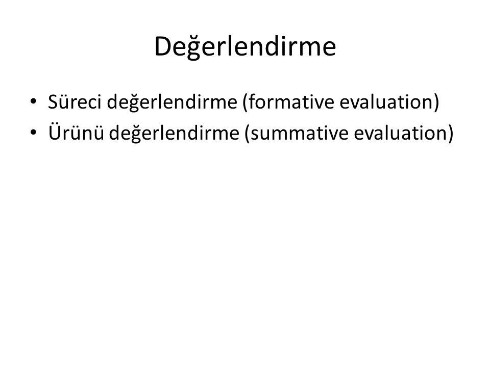 Değerlendirme Süreci değerlendirme (formative evaluation) Ürünü değerlendirme (summative evaluation)