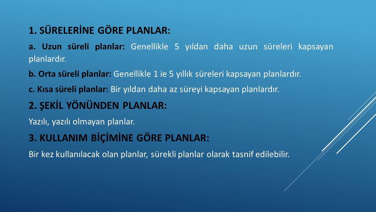 1. SÜRELERİNE GÖRE PLANLAR: a. Uzun süreli planlar: Genellikle 5 yıldan daha uzun süreleri kapsayan planlardır. b. Orta süreli planlar: Genellikle 1 i