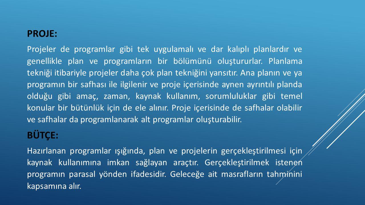 PROJE: Projeler de programlar gibi tek uygulamalı ve dar kalıplı planlardır ve genellikle plan ve programların bir bölümünü oluştururlar. Planlama tek