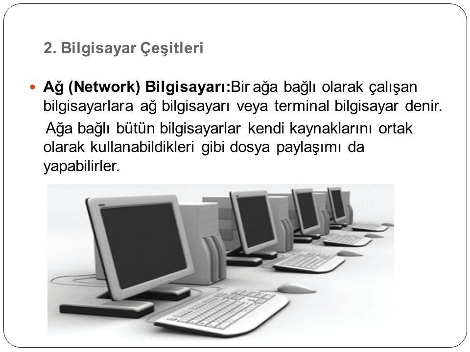 Ağ (Network) Bilgisayarı:Bir ağa bağlı olarak çalışan bilgisayarlara ağ bilgisayarı veya terminal bilgisayar denir.
