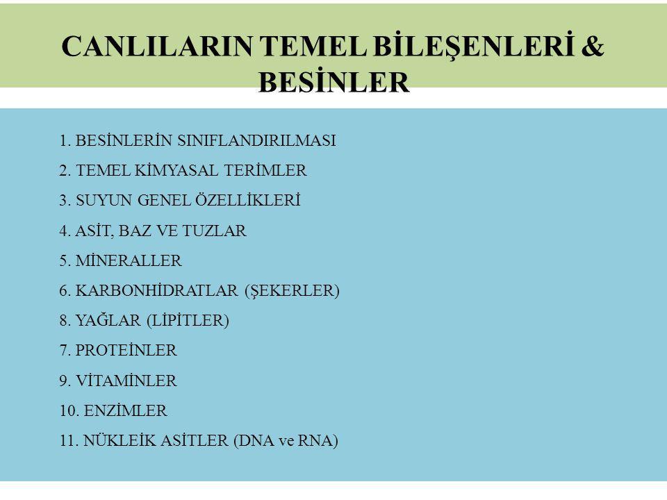 CANLILARIN TEMEL BİLEŞENLERİ & BESİNLER 1.BESİNLERİN SINIFLANDIRILMASI 2.