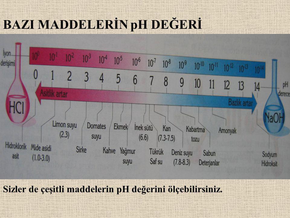 BAZI MADDELERİN pH DEĞERİ Sizler de çeşitli maddelerin pH değerini ölçebilirsiniz.
