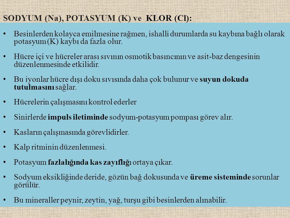 SODYUM (Na), POTASYUM (K) ve KLOR (Cl): Besinlerden kolayca emilmesine rağmen, ishalli durumlarda su kaybına bağlı olarak potasyum (K) kaybı da fazla olur.