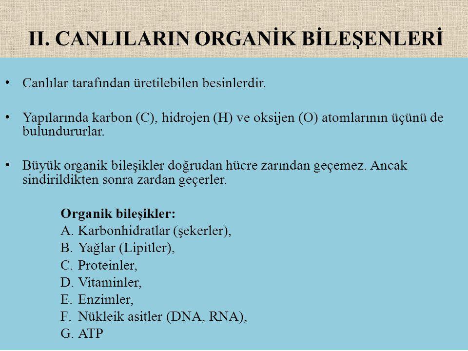 II.CANLILARIN ORGANİK BİLEŞENLERİ Canlılar tarafından üretilebilen besinlerdir.