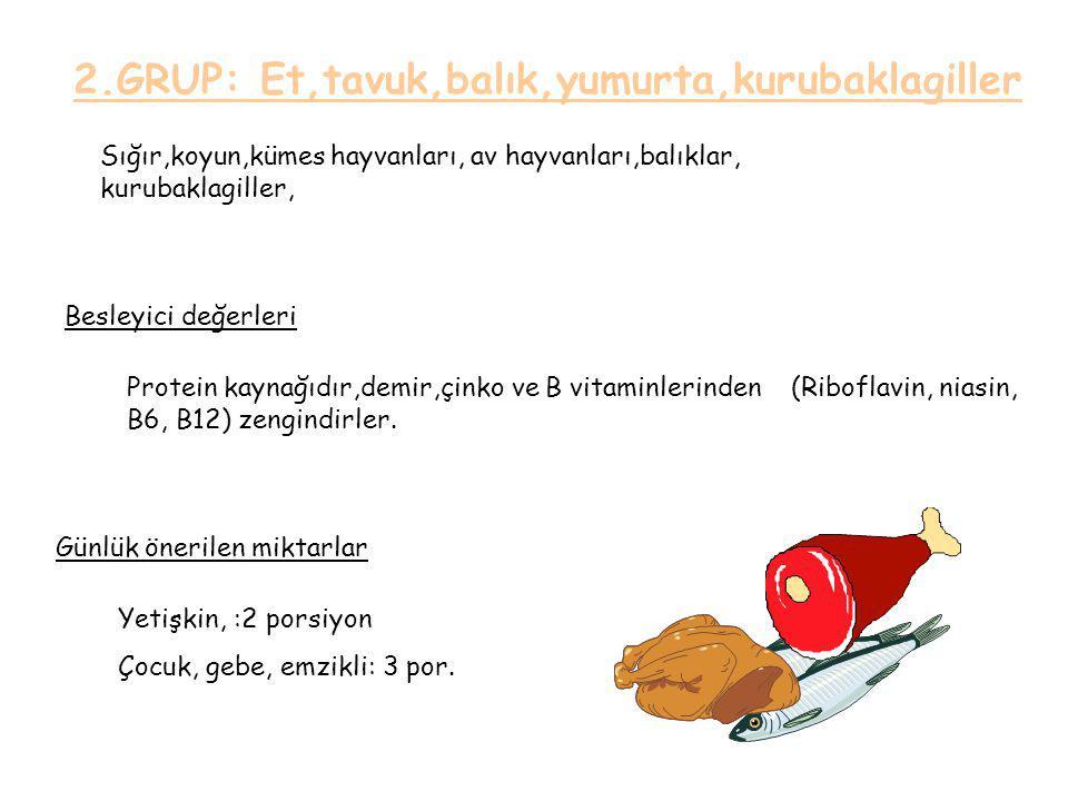 2.GRUP: Et,tavuk,balık,yumurta,kurubaklagiller Sığır,koyun,kümes hayvanları, av hayvanları,balıklar, kurubaklagiller, Besleyici değerleri Günlük önerilen miktarlar Protein kaynağıdır,demir,çinko ve B vitaminlerinden (Riboflavin, niasin, B6, B12) zengindirler.