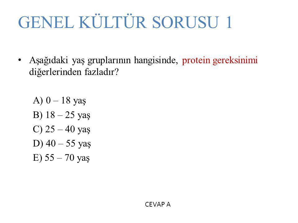 GENEL KÜLTÜR SORUSU 1 Aşağıdaki yaş gruplarının hangisinde, protein gereksinimi diğerlerinden fazladır.