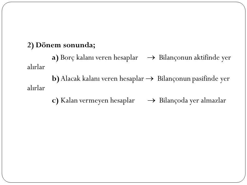 2) Dönem sonunda; a) Borç kalanı veren hesaplar  Bilançonun aktifinde yer alırlar b) Alacak kalanı veren hesaplar  Bilançonun pasifinde yer alırlar